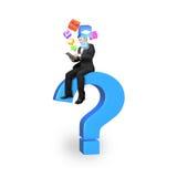 Hombre de negocios usando la tableta en signo de interrogación azul con los iconos del app Imagen de archivo