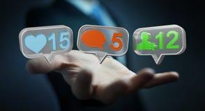 Hombre de negocios usando medios renderi social colorido digital de los iconos 3D Fotos de archivo