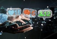 Hombre de negocios usando medios renderi social colorido digital de los iconos 3D Imagen de archivo