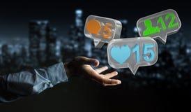 Hombre de negocios usando medios renderi social colorido digital de los iconos 3D Imágenes de archivo libres de regalías