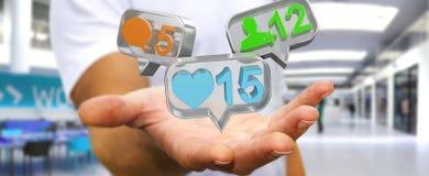 Hombre de negocios usando medios renderi social colorido digital de los iconos 3D Foto de archivo