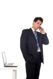 Hombre de negocios usando un teléfono móvil Imagen de archivo