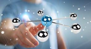 Hombre de negocios usando volar la representación de la red 3D de las esferas 3D Imagen de archivo
