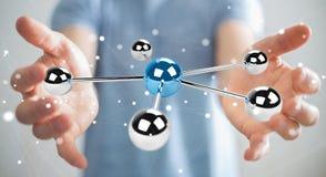 Hombre de negocios usando volar la representación de la red 3D de las esferas 3D Foto de archivo libre de regalías