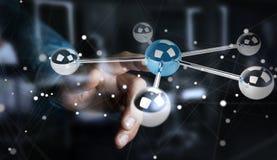 Hombre de negocios usando volar la representación de la red 3D de las esferas 3D Fotos de archivo libres de regalías