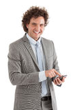Hombre de negocios Using un teléfono elegante Fotografía de archivo libre de regalías