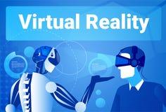 Hombre de negocios In Virtual Reality que usa al hombre moderno del robot en concepto de las gafas de Vr Imágenes de archivo libres de regalías