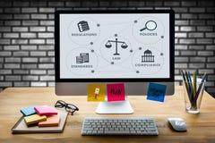 Hombre de negocios w de los profesionales de la ley de las reglas de las REGULACIONES y de la CONFORMIDAD imágenes de archivo libres de regalías