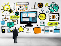Hombre de negocios Web Design Content que mira para arriba concepto de la idea Imagen de archivo libre de regalías