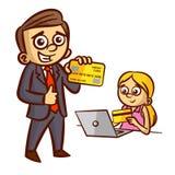 Hombre de negocios Woman Credit Card Foto de archivo