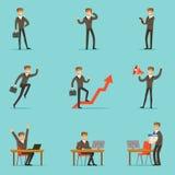 Hombre de negocios Work Process Set de escenas relacionadas con el mercado con el empresario joven Cartoon Character Fotografía de archivo libre de regalías