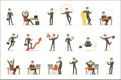 Hombre de negocios Work Process Set de escenas relacionadas con el mercado con el empresario joven Cartoon Character ilustración del vector