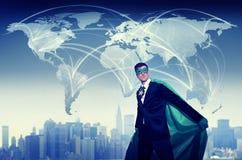 Hombre de negocios World Connection Concept del super héroe Foto de archivo libre de regalías