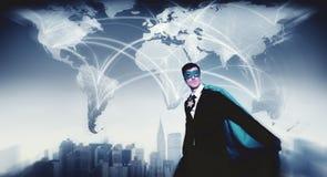 Hombre de negocios World Connection Concept del super héroe Fotos de archivo libres de regalías