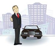 Hombre de negocios y coche Hombre rico en la ciudad Vector Fotografía de archivo