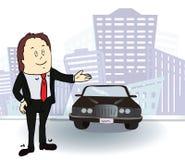Hombre de negocios y coche Hombre rico en la ciudad Vector Foto de archivo