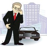 Hombre de negocios y coche Hombre rico en la ciudad Vector Fotos de archivo libres de regalías