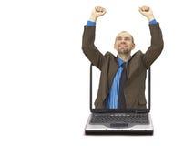 Hombre de negocios y computadora portátil felices (con el espacio para su texto) Imagenes de archivo