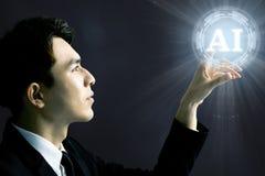 Hombre de negocios y concepto de la inteligencia artificial del AI foto de archivo