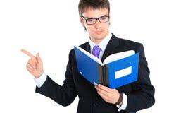 Hombre de negocios y cuaderno. Cierre para arriba Fotografía de archivo libre de regalías