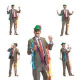 Hombre de negocios y día de fiesta. Collage Imagen de archivo