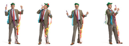 Hombre de negocios y día de fiesta. Collage Fotografía de archivo