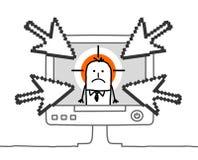 Hombre de negocios y el cyberbullying libre illustration