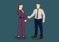 Hombre de negocios y empresaria Handshake Vector Illustration libre illustration