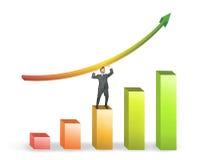 Hombre de negocios y estadísticas positivas Imagen de archivo
