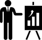 Hombre de negocios y gráfico ilustración del vector