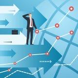 Hombre de negocios y gráficos con el crecimiento de indicadores financieros Foto de archivo