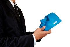 Hombre de negocios y máscara imágenes de archivo libres de regalías