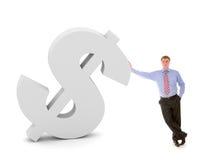 Hombre de negocios y muestra de dólar stock de ilustración