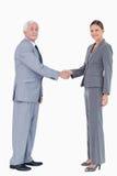 Hombre de negocios y mujer que sacuden las manos Foto de archivo libre de regalías