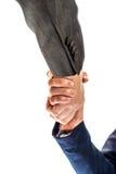 Hombre de negocios y mujer que sacuden las manos Fotografía de archivo libre de regalías