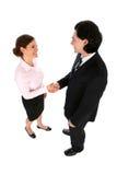 Hombre de negocios y mujer que sacuden las manos Imagen de archivo libre de regalías