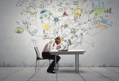 Hombre de negocios y nueva idea Imagen de archivo libre de regalías