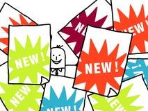 Hombre de negocios y NUEVOS anuncios Imágenes de archivo libres de regalías