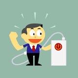 Hombre de negocios y poder de carga del banco del poder para arriba Imagen de archivo libre de regalías