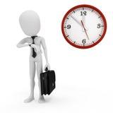 hombre de negocios y reloj del hombre 3d Imagen de archivo libre de regalías