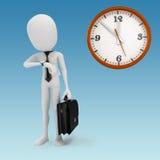 hombre de negocios y reloj del hombre 3d Foto de archivo libre de regalías