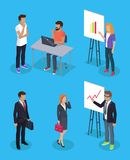 Hombre de negocios y secretaria Set Vector Illustration stock de ilustración