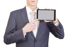 Hombre de negocios y tableta Imagen de archivo libre de regalías