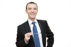Hombre de negocios y vidrios Fotos de archivo libres de regalías