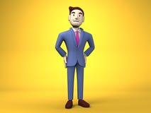 Hombre de negocios On Yellow Background de la sonrisa Fotografía de archivo libre de regalías