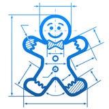 Hombre de pan de jengibre con las líneas de dimensión Imagen de archivo libre de regalías