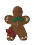 Hombre de pan de jengibre de la Navidad aislado Fotografía de archivo libre de regalías