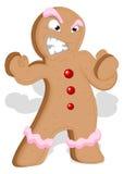Hombre de pan de jengibre enojado - ejemplo del vector de la Navidad Fotografía de archivo libre de regalías