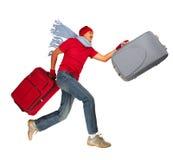 Hombre de Papá Noel que corre con la maleta Fotos de archivo libres de regalías