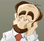Hombre de pensamiento con la mano en la barbilla ilustración del vector